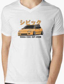 Honda Civic Hatchback on DropMode (yellow) Mens V-Neck T-Shirt