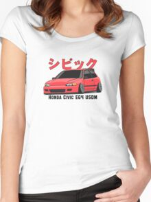 Honda Civic Hatchback on DropMode (pink) Women's Fitted Scoop T-Shirt
