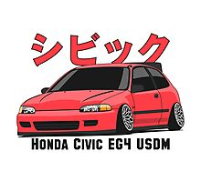 Honda Civic Hatchback on DropMode (pink) Photographic Print
