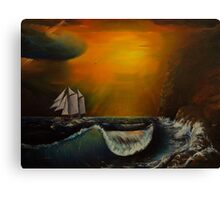 Sunset at the rocky shore Canvas Print