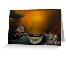 Sunset at the rocky shore Greeting Card