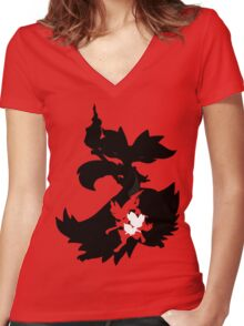 Fennekin - Braixen - Delphox ( Evolution Line ) Women's Fitted V-Neck T-Shirt