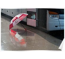 Umbrella At The Bus In Front Of The Art Gallery Poster