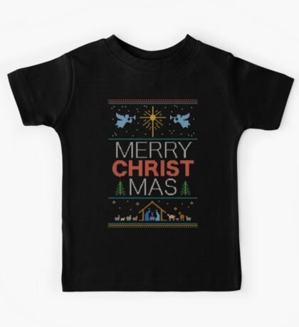 Ugly Christmas Sweater - Knit by Granny - Merry Christ Mas - Religious Christian Kids Tee
