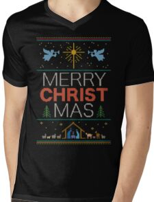 Ugly Christmas Sweater - Knit by Granny - Merry Christ Mas - Religious Christian Mens V-Neck T-Shirt