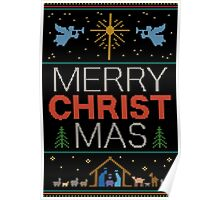 Ugly Christmas Sweater - Knit by Granny - Merry Christ Mas - Religious Christian Poster