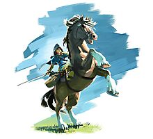 Zelda Breath of the Wild Link on Epona Photographic Print