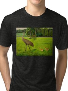 Sandhill crane with chicks Tri-blend T-Shirt