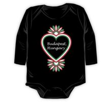 Budapest, Hungary Heart - White Text One Piece - Long Sleeve