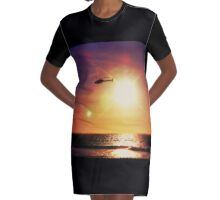 Helicopter Semi-Photobomb Graphic T-Shirt Dress