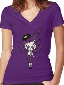 Lilac Cacto by Lolita Tequila  Women's Fitted V-Neck T-Shirt