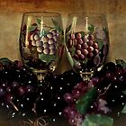 Hand Painted Wine Glasses, Grapes & More 2nd Rendition by Sherry Hallemeier