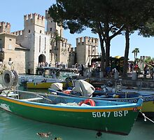 Colorful boats by the Scaliger castle by Elena Skvortsova