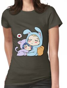 Kannao - Bunny and Cat Womens Fitted T-Shirt