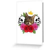 cat and roses Greeting Card