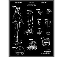 Barbie Doll Patent - Black Photographic Print