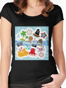 Happy Birthday Card pirate Women's Fitted Scoop T-Shirt