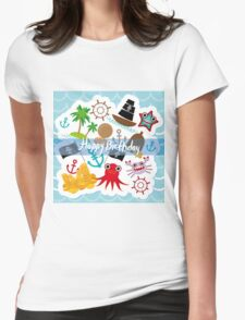 Happy Birthday Card pirate Womens Fitted T-Shirt