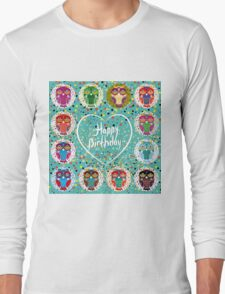 Happy birthday owls Long Sleeve T-Shirt