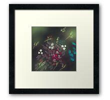 Floral life explosion - dark Framed Print