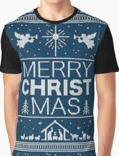 Ugly Christmas Sweater - Blue - Merry Christ Mas - Religious Christian - Jesus Graphic T-Shirt