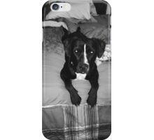 Nela on bed gray scale  iPhone Case/Skin