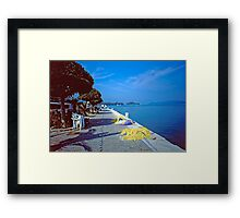 Seafront with Yellow Nets, Island of Hydra, Greece Framed Print