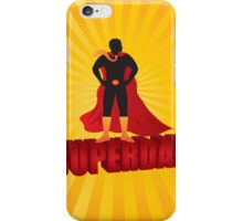 Super Dad Text Superhero Silhouette on Sun Rays Illustration iPhone Case/Skin