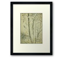 crucified figure in seminary grounds Framed Print