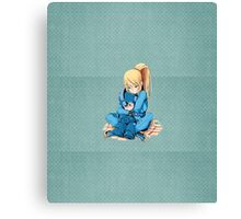 Suit-less Samus and Mega Man - Textured!  Canvas Print