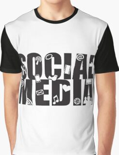 Social Media Text with Symbols on White Background Graphic T-Shirt