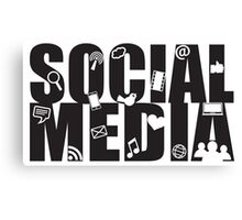 Social Media Text with Symbols on White Background Canvas Print
