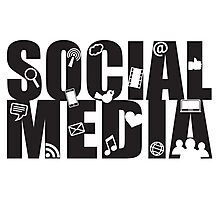 Social Media Text with Symbols on White Background Photographic Print