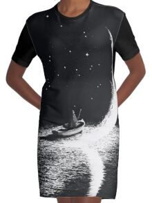 Arrival At Moonlight Graphic T-Shirt Dress
