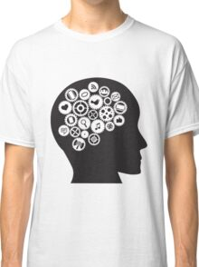 Machine Gears inside human head with Social Media Symbols Classic T-Shirt