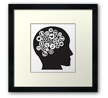 Machine Gears inside human head with Social Media Symbols Framed Print