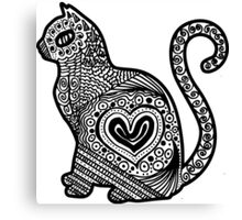 Cat Pop BW Canvas Print