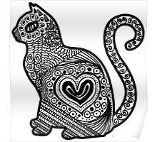 Cat Pop BW Poster