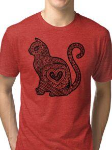 Cat Pop BW Tri-blend T-Shirt