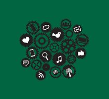 Machine Gears with Social Media Symbols  Unisex T-Shirt
