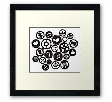 Machine Gears with Social Media Symbols  Framed Print