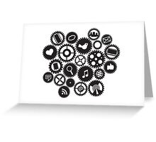 Machine Gears with Social Media Symbols  Greeting Card