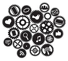 Machine Gears with Social Media Symbols  Photographic Print