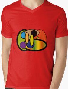 Round Crazy Rainbow Fun Mens V-Neck T-Shirt