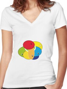 Round Eyes Women's Fitted V-Neck T-Shirt