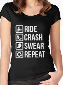 Biker - Ride Crash Swear Repeat Women's Fitted Scoop T-Shirt