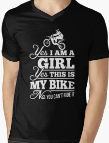Biker - Yes I Am A Girl Yes This My Bike No You Can't Ride It Mens V-Neck T-Shirt