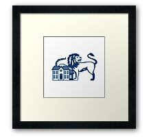 Angry Lion Paw on House Isolated Retro Framed Print