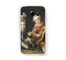 Jean-Germain Drouais - Children Of The Marquis De Bethune Playing With A Dog 1761. Child portrait: sons , Dog,  pug , paw, strum , guitar, costume, childhood, cute baby, small, pretty angel Samsung Galaxy Case/Skin