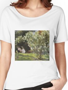 Peder Severin Kroyer - Roses. Garden landscape: garden view, Woman, blossom, nature, botanical park, floral flora, wonderful flowers, Rose, cute plant, garden, flower Women's Relaxed Fit T-Shirt